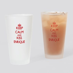 Keep Calm and Kiss Enrique Drinking Glass