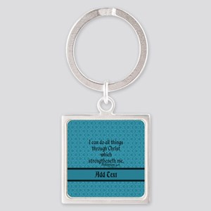 Philippians 4:13 Word teal Square Keychain