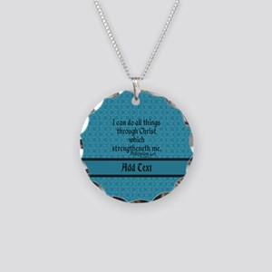 Philippians 4:13 Word teal Necklace Circle Charm