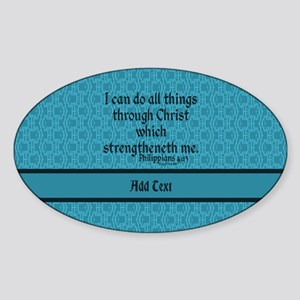 Philippians 4:13 Word teal Sticker (Oval)