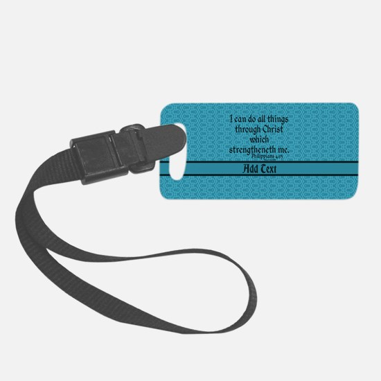 Philippians 4:13 Word teal Luggage Tag