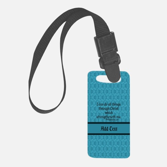 Philippians 4:13 Word teal Small Luggage Tag