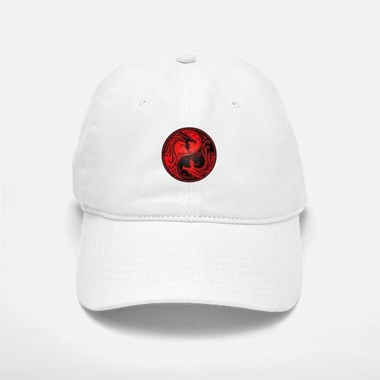 Red and Black Yin Yang Dragons Hat
