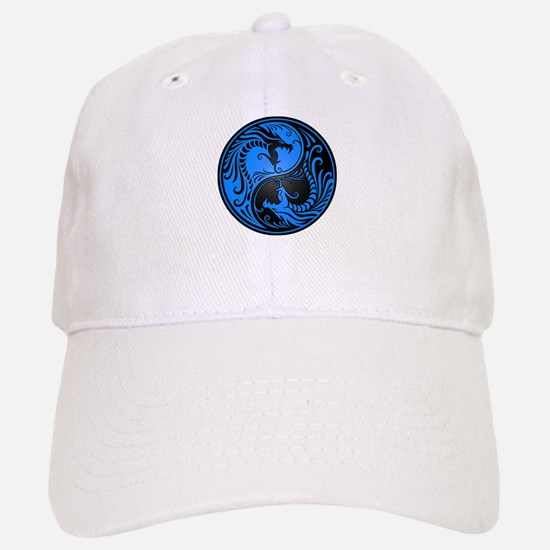 Blue and Black Yin Yang Dragons Hat