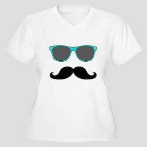 Mustache Blue Sunglasses Plus Size T-Shirt