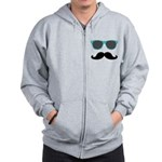 Mustache Blue Sunglasses Zipped Hoody