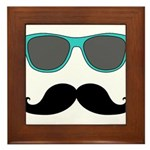 Mustache Blue Sunglasses Framed Tile