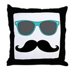 Mustache Blue Sunglasses Throw Pillow
