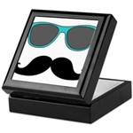 Mustache Blue Sunglasses Keepsake Box