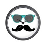 Mustache Blue Sunglasses Wall Clock