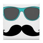 Mustache Blue Sunglasses Tile Coaster