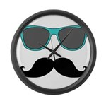 Mustache Blue Sunglasses Large Wall Clock