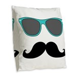 Mustache Blue Sunglasses Burlap Throw Pillow