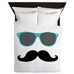 Mustache Blue Sunglasses Queen Duvet