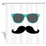 Mustache Blue Sunglasses Shower Curtain
