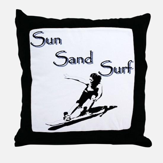 Sun sand surf Throw Pillow