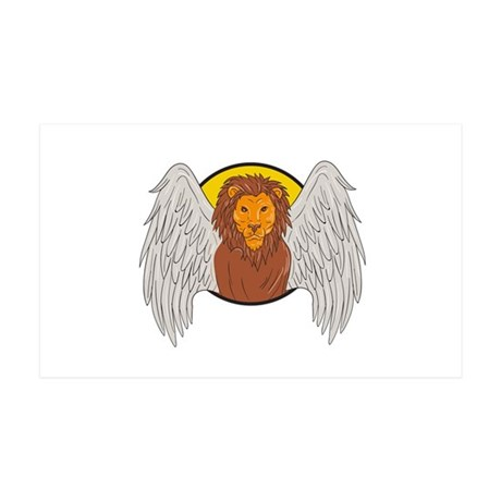Winged Lion Head Circle Drawing Wall Decal