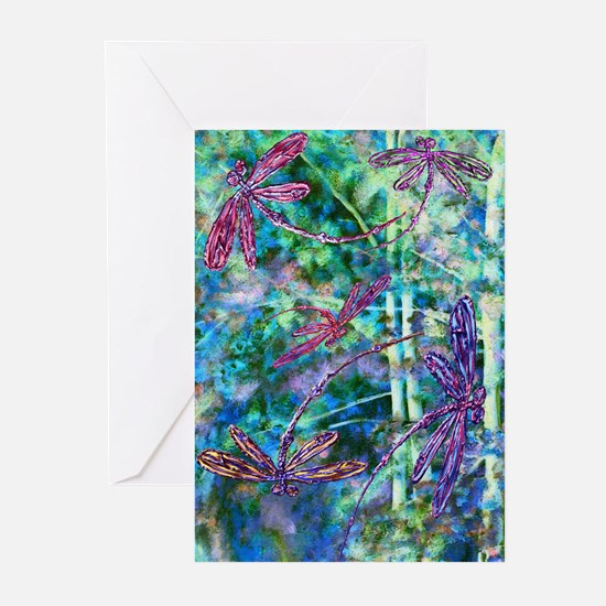 Dragonflies Forest Light Greeting Cards