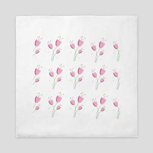Romantic pink floral pattern Queen Duvet