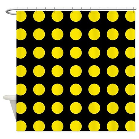 black and yellow large polka dots shower curtain by patternedshop. Black Bedroom Furniture Sets. Home Design Ideas