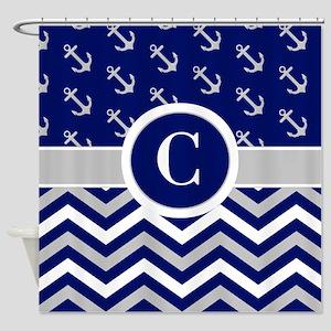 Navy Gray Chevron Anchors Monogram Shower Curtain