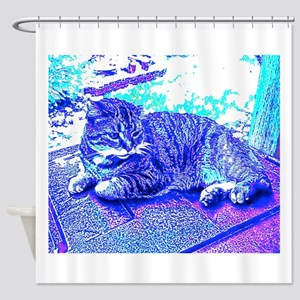 Abstract Cat Shower Curtain