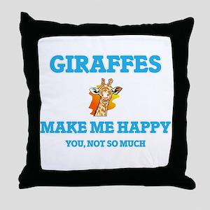 Giraffes Make Me Happy Throw Pillow