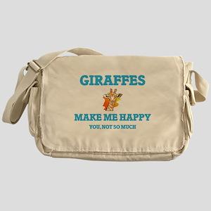 Giraffes Make Me Happy Messenger Bag