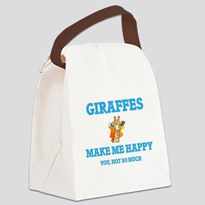 Giraffes Make Me Happy Canvas Lunch Bag
