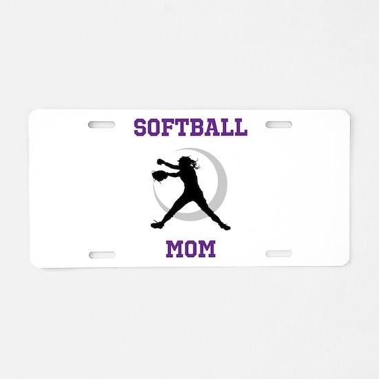 Softball Mom tshirt Aluminum License Plate