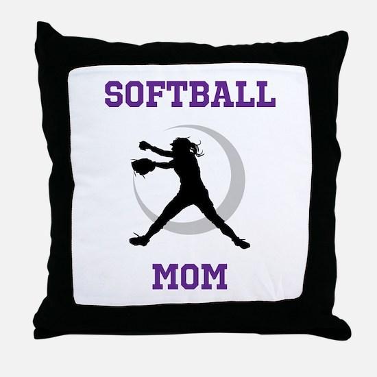 Softball Mom tshirt Throw Pillow