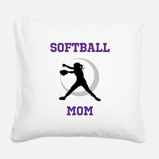 Softball Mom tshirt Square Canvas Pillow