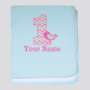 1st Birthday Pink Green Bird baby blanket