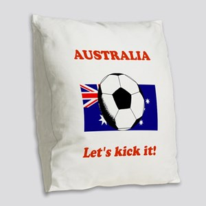 Australia Lets Kick It! Burlap Throw Pillow