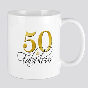 50 and Fabulous Black Gold Mugs