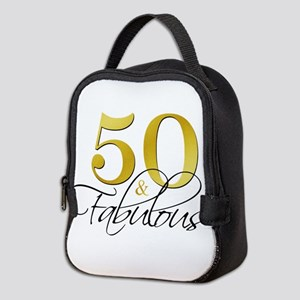50 and Fabulous Black Gold Neoprene Lunch Bag