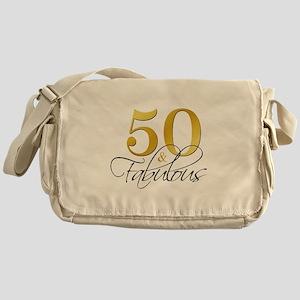 50 and Fabulous Black Gold Messenger Bag