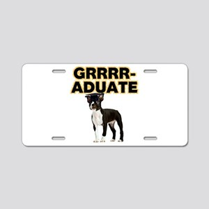 Graduation Boston Terrier Aluminum License Plate