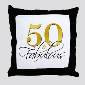 50 and Fabulous Black Gold Throw Pillow