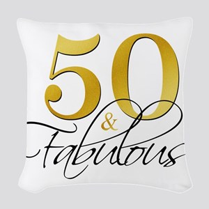 50 and Fabulous Black Gold Woven Throw Pillow