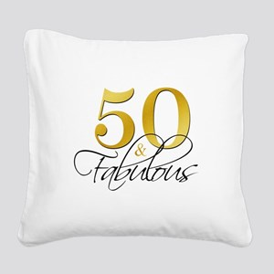 50 and Fabulous Black Gold Square Canvas Pillow