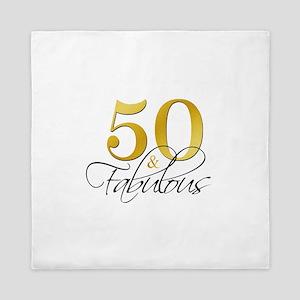 50 and Fabulous Black Gold Queen Duvet