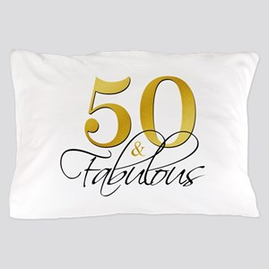 50 and Fabulous Black Gold Pillow Case
