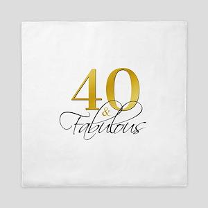 40 and Fabulous Black Gold Queen Duvet