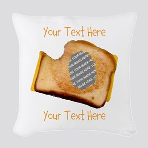 YOUR FACE Grilled Cheese Sandw Woven Throw Pillow