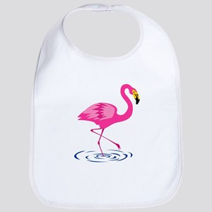 Pink Flamingo on One Leg Baby Bib