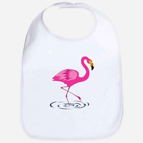Pink Flamingo on One Leg Baby Bib