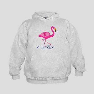 Pink Flamingo on One Leg Kids Hoodie
