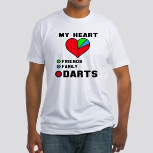 My Heart Friends, Family and Darts Fitted T-Shirt