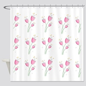 Romantic Pink Floral Pattern Shower Curtain